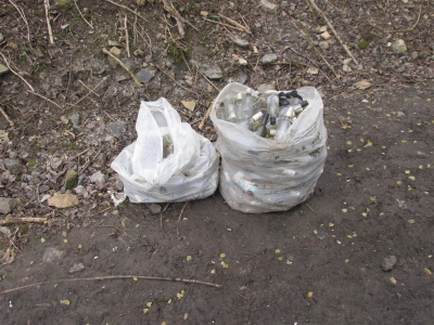 Rubbish collected along the trail