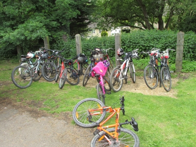 Bike racks in use